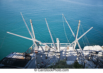 Details of a sea trebuchet, Apulia in Italy