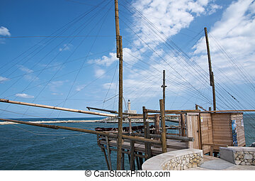 Details of a sea trebuchet in Vieste, Apulia in Italy
