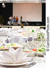Details of a wedding banquet table