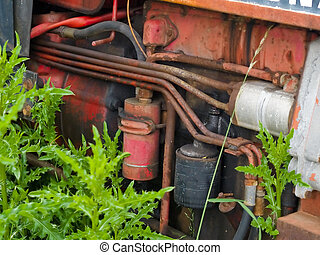 Details of an old vintage tractor