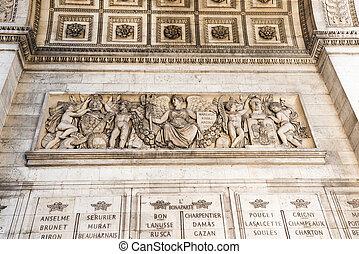 Details of Arc de Triomphe in Paris