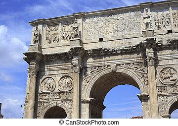 details of Arco de Constantino in Rome, Italy
