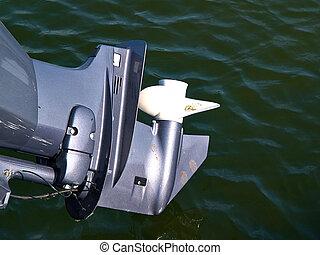 Details of boat engine motor with propeller