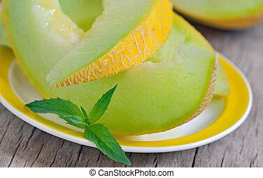 cantaloupe melon - details of cantaloupe melon slices