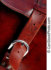 leather bag - details of hand made quality leather bag