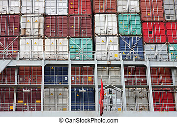 large cargo container ship in Hamburg harbour
