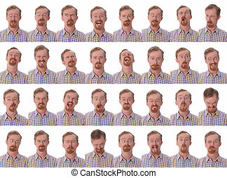 facial expressions - Details of large facial expressions on...