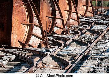 Details of metallic transportation rail trail.