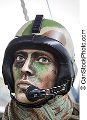 Details of military equipment - Military equipment on a male...