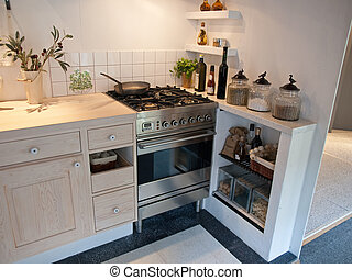 Details of modern neo classical design decorated wooden country style kitchen