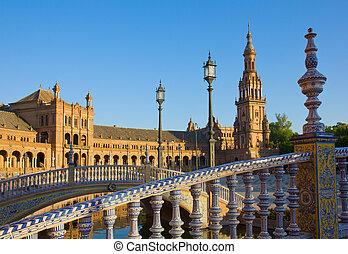 details of Plaza de España, Seville, Spain
