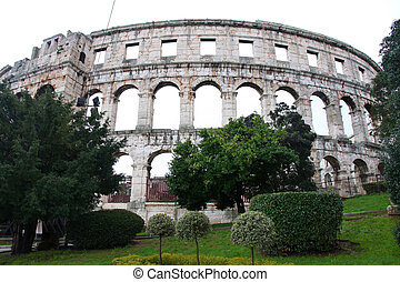Pula - details of roman amphitheater (Colosseum) in Pula