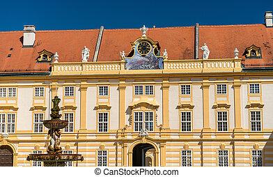 Details of Stift Melk, a Benedictine abbey in the town of Melk in Austria