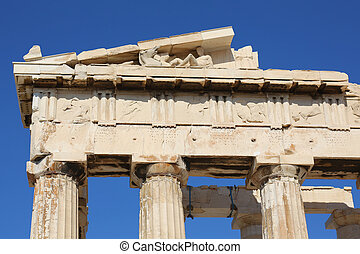 details of the Acropolis of Athens, is an ancient citadel located on a high rocky outcrop above the city of Athens, Greece