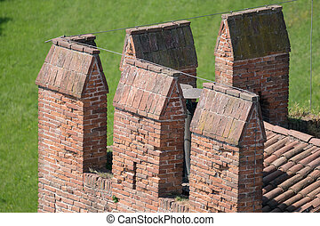 Details of the battlements of a medieval castle.