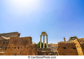 Details of the Forum Romanum in Italy - Closeup view on the...
