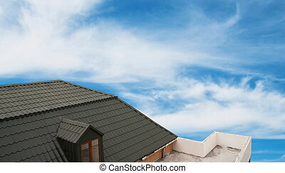 Details of the house roof on sky