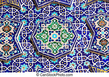 Iran - Details of the mosaic of the iwan at the Jameh Mosque...