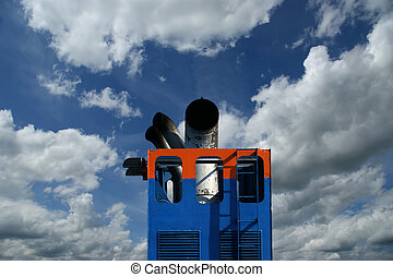 Details of the passenger ship on a blue sky background