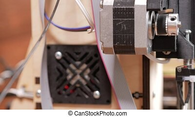 Details of the printer close-up. Stepper motors move the belt extruders. Close-up