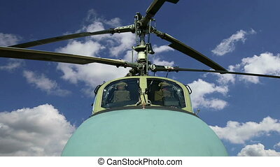 Details of the rotor and part of the body of modern military helicopters closeup