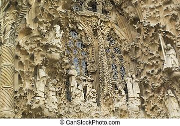 Details of the Sagrada Familia in Barcelona Spain