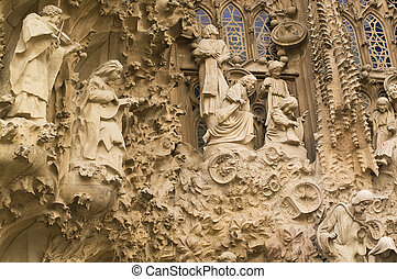 Details of the Sagrada Familia in Barcelona Spain