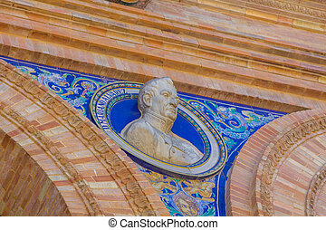 details of the statues of the famous square of Spain in Seville