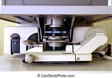 Microfiche reader in closeup - details shot of Microfiche ...