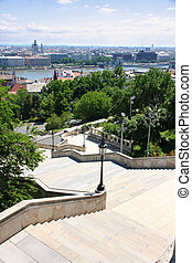 Details The stairs of the Fisherman's Bastion and panorama, ...
