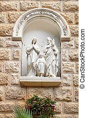 Detal of St. Joseph Church facade in Nazareth, Israel