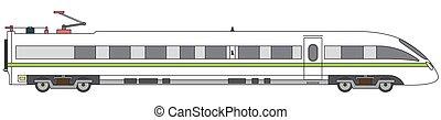 detalhado, alta velocidade, linear, trem, expresso, ilustração, experiência., vetorial, branca, estrada ferro