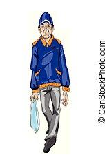 detalhado, andar, type., aleatório, personagem, vector., ilustrações, caricatura, homem