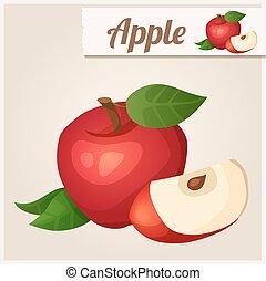 detalhado, apple., icon., vermelho