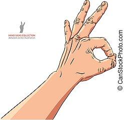 detalhado, aprovação, illustration., sinal, mão, vetorial