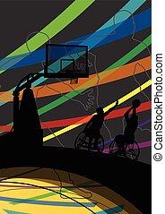 detalhado, basquetebol, silueta, cadeira rodas, homens, ilustração, incapacitado, jogadores, conceito, fundo, desporto