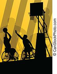 detalhado, basquetebol, silueta, cadeira rodas, homens, ilustração, incapacitado, jogadores, conceito, vetorial, fundo, ativo, desporto