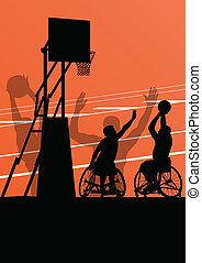 detalhado, basquetebol, silueta, cadeira rodas, homens, ...