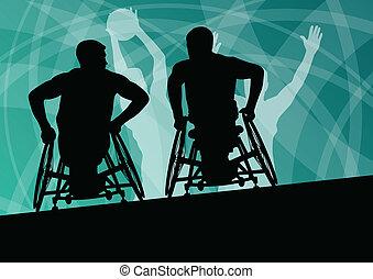 detalhado, basquetebol, silueta, cadeira rodas, homens, jovem, ilustração, incapacitado, jogadores, conceito, vetorial, fundo, ativo, desporto