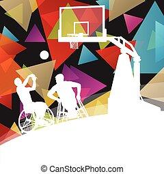 detalhado, basquetebol, silueta, saudável, cadeira rodas, homens, ilustração, incapacitado, jogadores, conceito, fundo, ativo, desporto