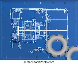 detalhado, blueprint, engrenagem