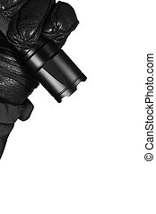 detalhado, brilhantemente, dever, patrulha, patrulhando, luminoso, operações, emiting, tiro, closeup, pessoal, polícia, dentado, isolado, campo, pretas, segurando, coberto, greve, vertical, casaco, mão, estúdio, lanterna, policial, bezel, gloved, couro, luz, forense, policial, guarda, luva, grande, iluminado, oficial, grão, tático, segurança