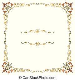 detalhado, cantos, quadro, luxo, ornate, borda