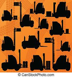 detalhado, carga, editable, ilustração, carregadores, silhuetas, vetorial, caminhão, cobrança, fundo, armazém, maquinaria