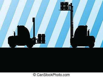 detalhado, carga, editable, ilustração, carregadores, silhuetas, vetorial, caminhão, maquinaria, fundo, armazém