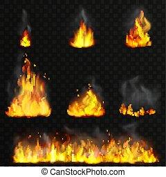 detalhado, chamas, fogo, set., alto, realístico, vetorial