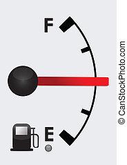 detalhado, cheio, tanque, gás, metade, ou, vazio