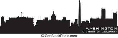 detalhado, columbia, distrito, vetorial, washington, skyline., silueta