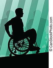 detalhado, conceito, silueta, cadeira rodas, homens,...