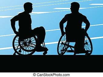 detalhado, conceito, silueta, cadeira rodas, homens, ...
